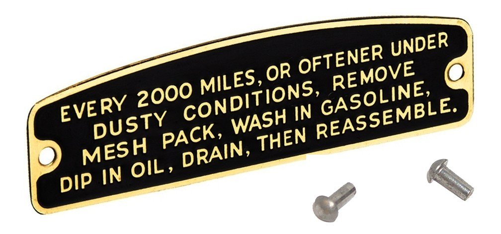 Air Cleaner INSTRUCTION TAGS for 1935 - 1940
