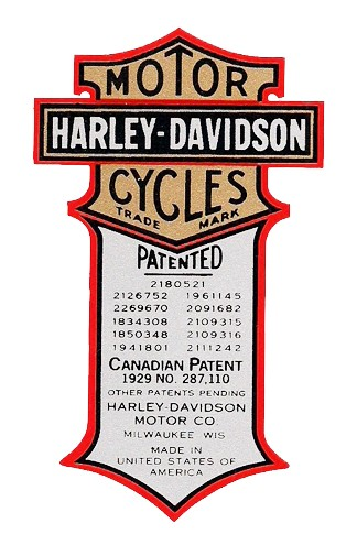 PATENT DECAL for 1934 - 1935