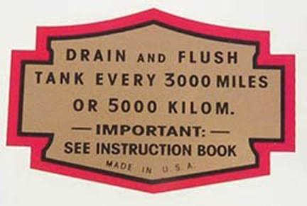 DRAIN NOTICE DECAL 1936 Knuckle Oil Tank
