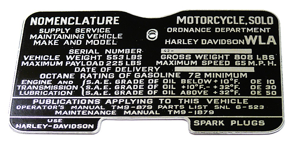 Harley WW2 CAUTION TAG for 1944 & 1945 45 Solo WLA