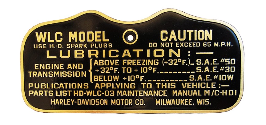 Harley WW2 CAUTION TAG for 1943 45 Solo WLC (Canadian)