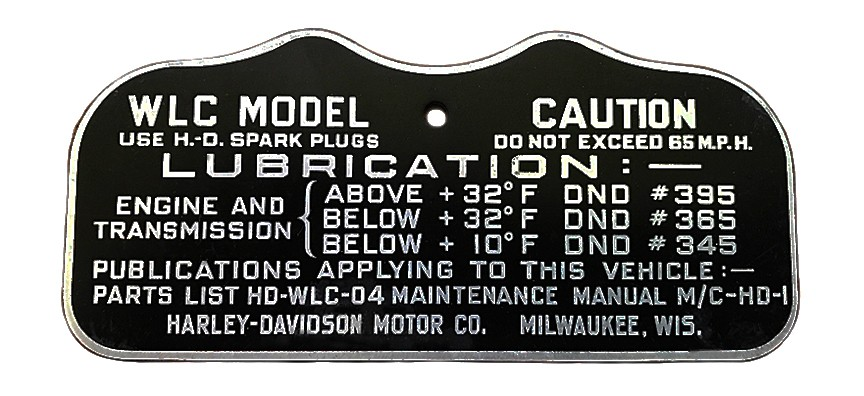 Harley WW2 CAUTION TAG for 1944 & 1945 45 Solo WLC (Canadian)